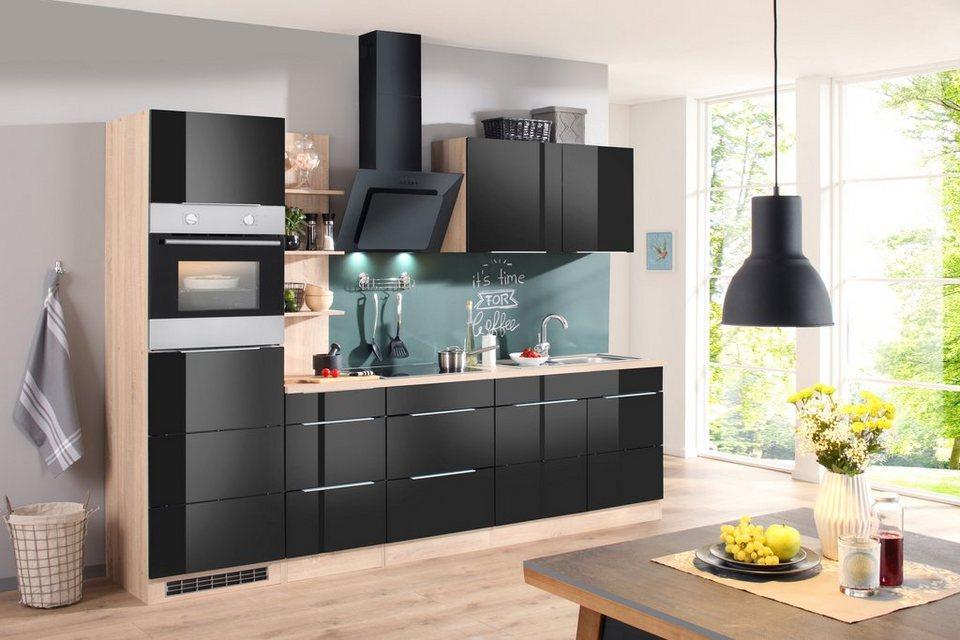 Küchenzeile mit E-Geräten »Brindisi, Breite 280 cm« in schwarz
