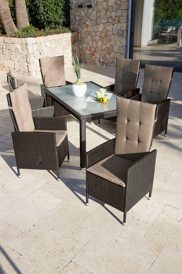13-tlg. Gartenmöbelset »Madrid«, 6 Hochlehner, Tisch,Kunststoff, braun, verstellbar in braun