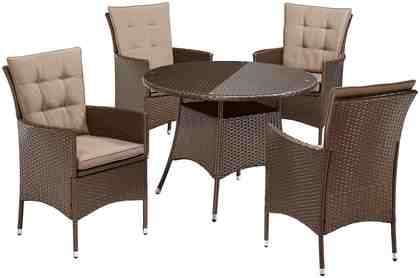 Gartenmöbelset »Santiago New«, 4 Sessel, Tisch Ø 100 cm, Polyrattan