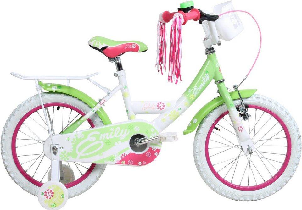 Hi5five Kinderfahrrad Mädchen, 16 Zoll, V-Brakes, »Emily« in weiß-grün