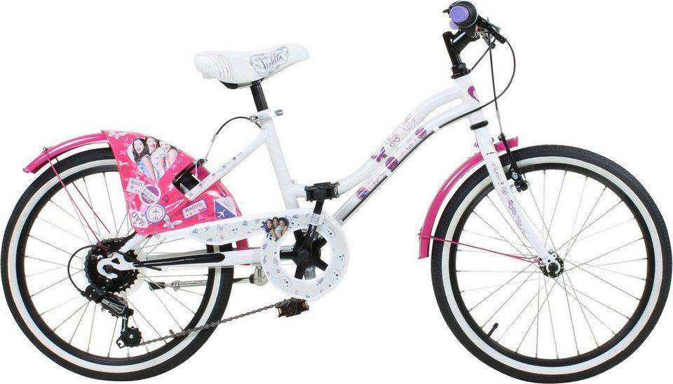 Disney Jugendfahrrad Mädchen, 20 Zoll, V-Brakes, »Violetta« in weiß-pink