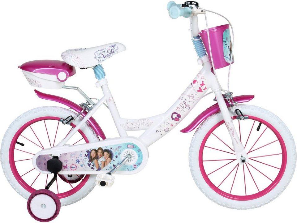 Disney Kinderfahrrad Mädchen, 16 Zoll, U-Brakes, »Violetta« in weiß-pink