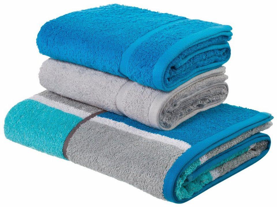 Handtuch Set, my home, »Laura«, mit Karo & Uni in blau