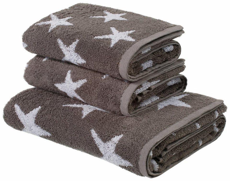 Handtuch Set, my home, »Till«, mit Sternmotiven in anthrazit