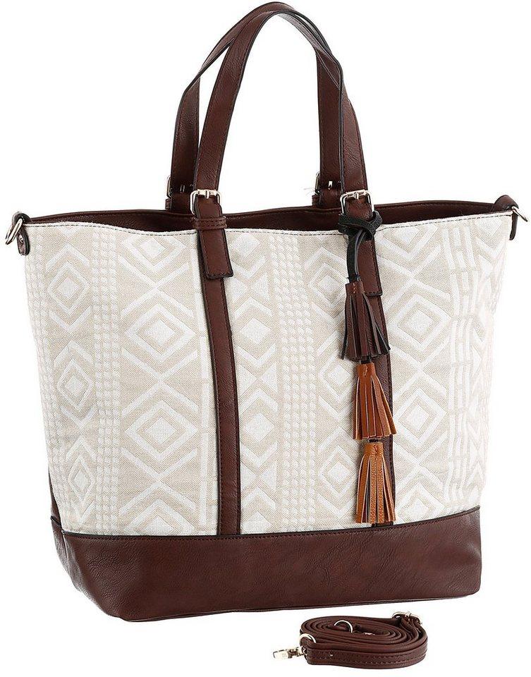 J. Jayz Shopper in schöner Materialkombi aus Textil und Lederimitat in braun-beige-weiß