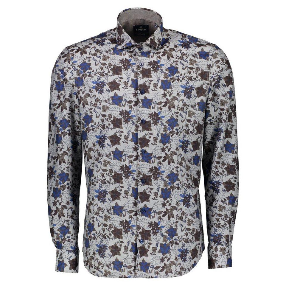 LERROS Premium Hemd aus Herringbone mit Print in DARK BROWN