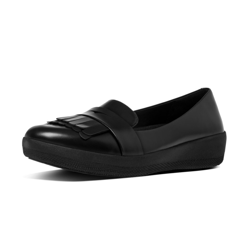 FitFlop »FitFlop FRINGEY SNEAKERLOAFER All Black« Slipper in schwarz