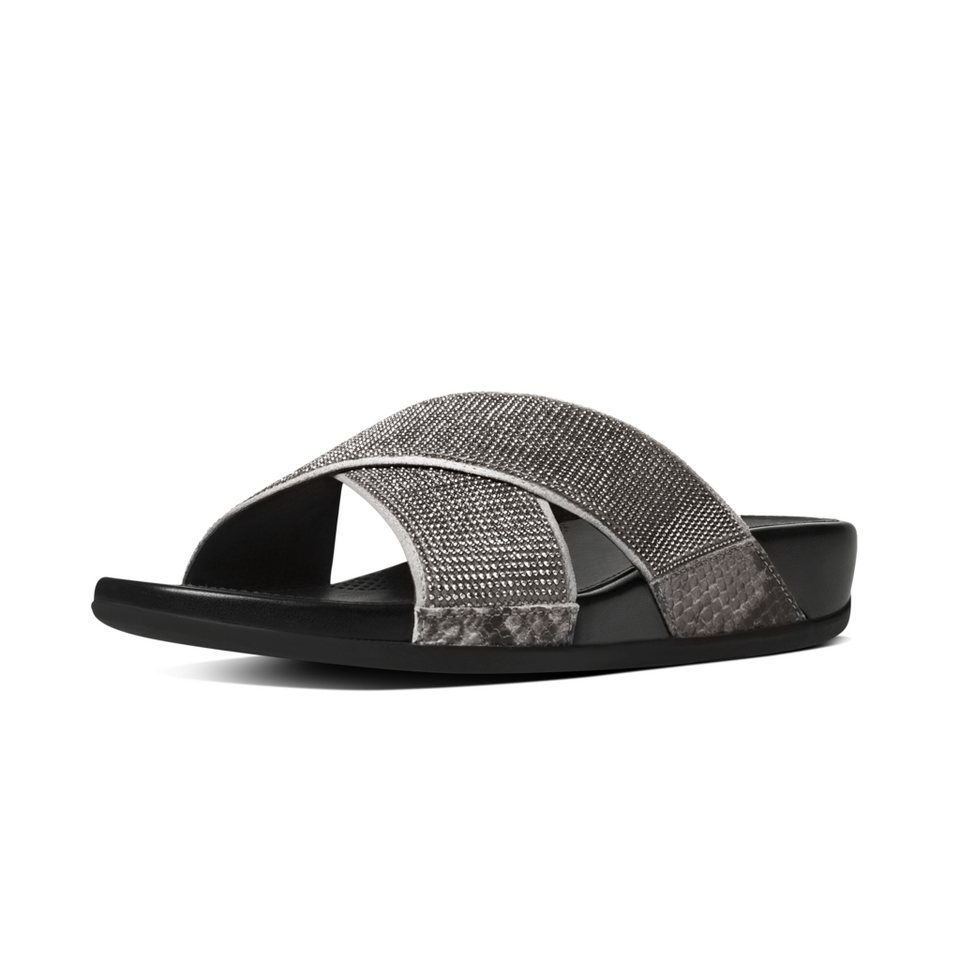 FitFlop »FitFlop AIX CRYSTAL CROSSOVER SLIDE Black« Pantolette in grau