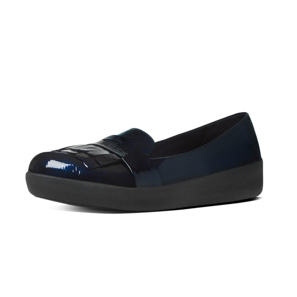 FitFlop »FitFlop FRINGEY SNEAKERLOAFER All Black« Slipper in metallicblau