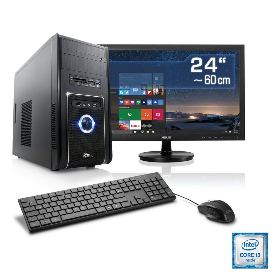 "CSL Multimedia PC Set | i3-6100 | Intel HD 530 | 4 GB RAM | 24"" TFT »Speed T5412 Windows 10 Home« in schwarz"