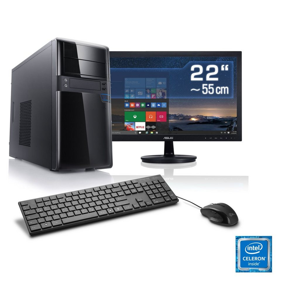 "CSL Multimedia PC Set | G3920 | HD Graphic | 4 GB RAM | 22"" TFT »Speed T1418 Windows 10 Home« in schwarz"