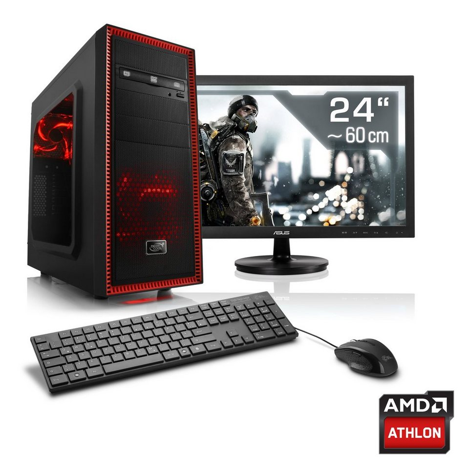 "CSL Gaming PC Set | AMD Athlon X4 880K | RX 480 | 8GB RAM | 24"" TFT »Levitas T4180 Windows 10«"