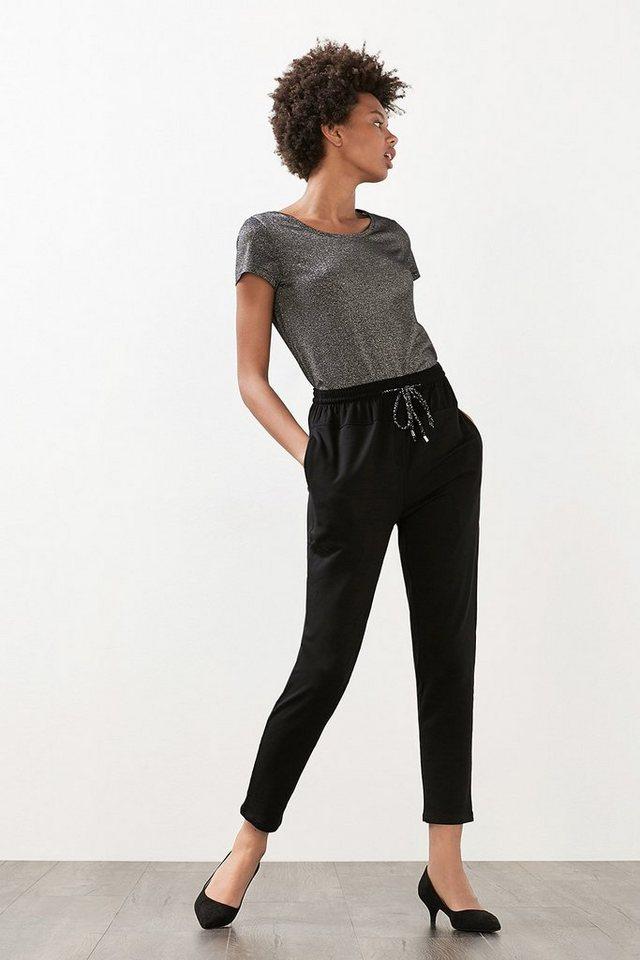 EDC Lässig-elegante Hose aus Jersey in BLACK
