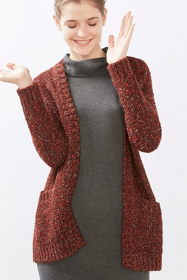 EDC Offener Mouliné Cardigan in BORDEAUX RED