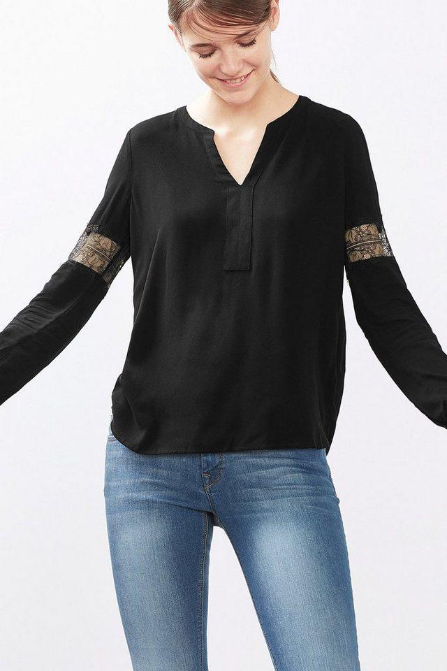 EDC Fließende Crêpe-Bluse mit Spitze in BLACK