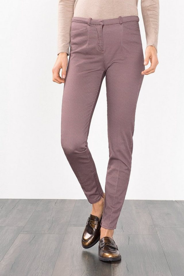 ESPRIT COLLECTION Mini-Print Twillhose mit Stretch in BORDEAUX RED