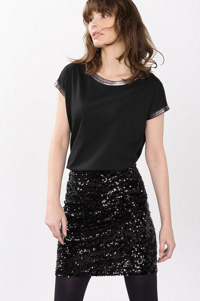 ESPRIT CASUAL Softes Shirt mit Glanzprint-Blenden in BLACK