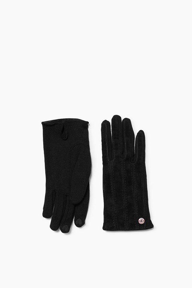 EDC Wollhandschuhe mit Veloursleder in BLACK