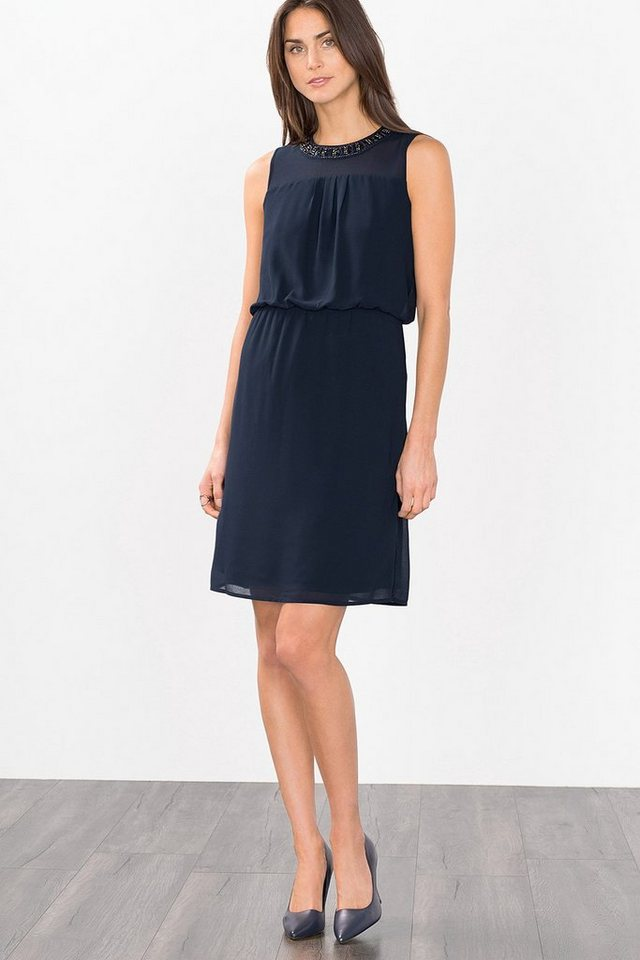 ESPRIT COLLECTION Fließendes Chiffonkleid mit Perlenbesatz in NAVY