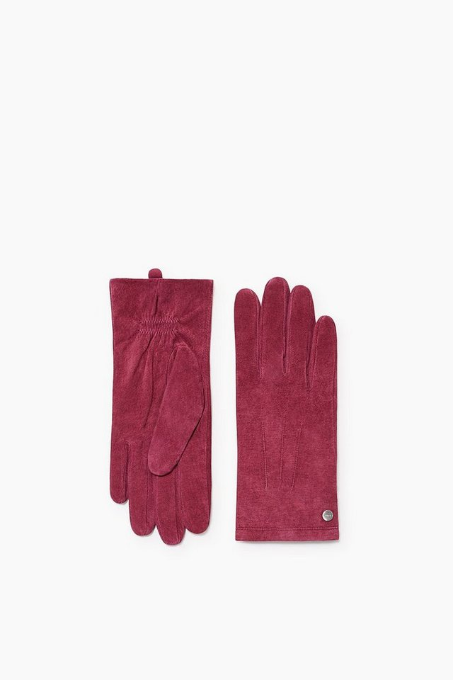 ESPRIT CASUAL Veloursleder Handschuhe mit Fleece Futter in GARNET RED