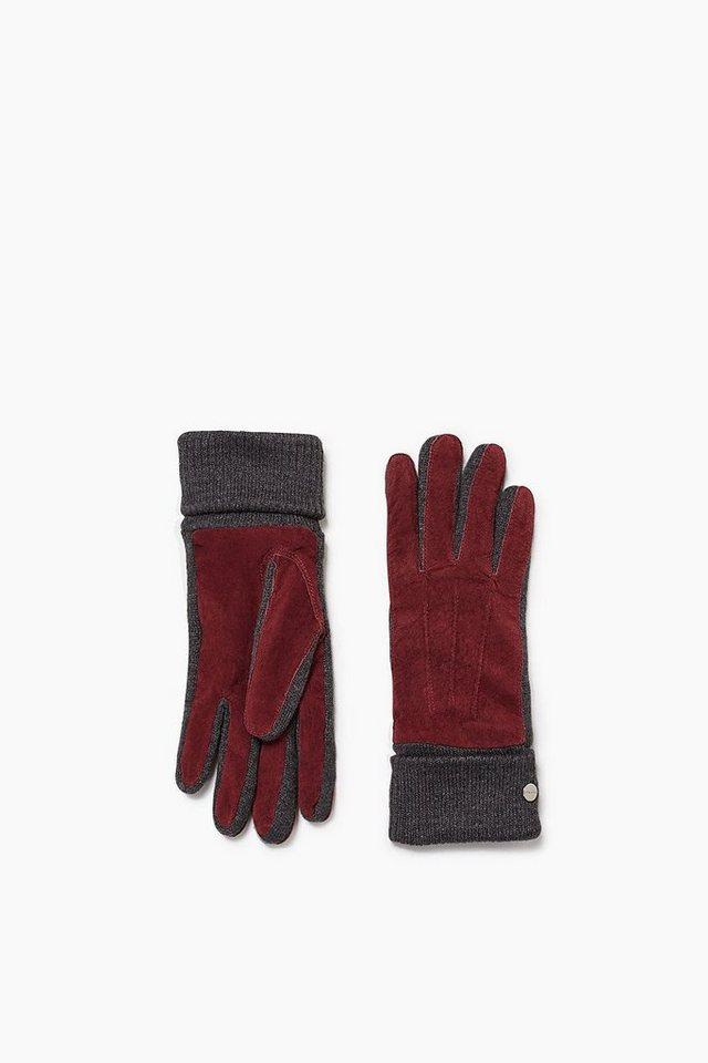 ESPRIT CASUAL Handschuhe aus Veloursleder und Strick in GARNET RED