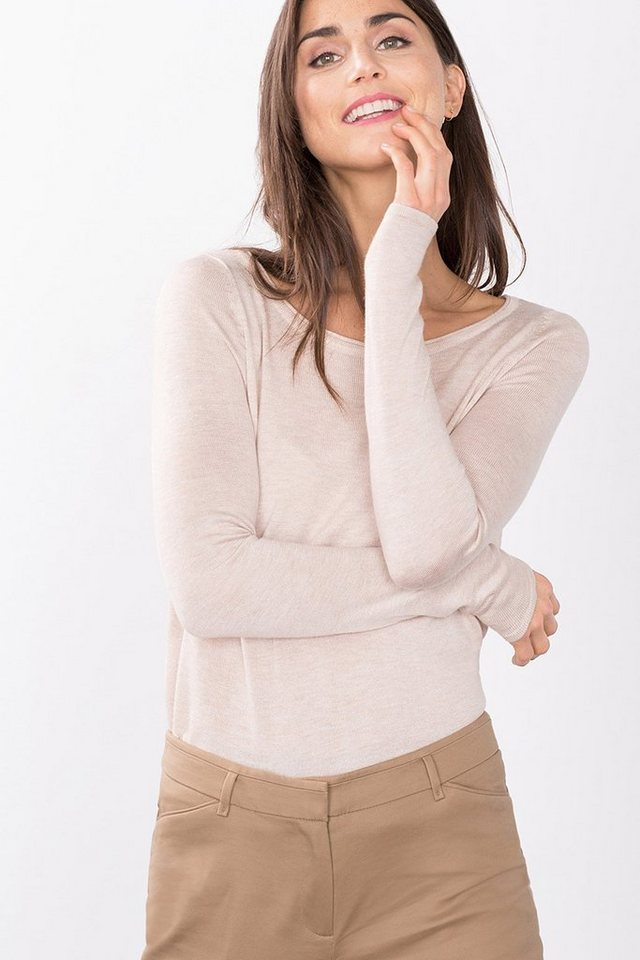 ESPRIT CASUAL Softer Feinstrick-Pulli im Basic-Look in NUDE