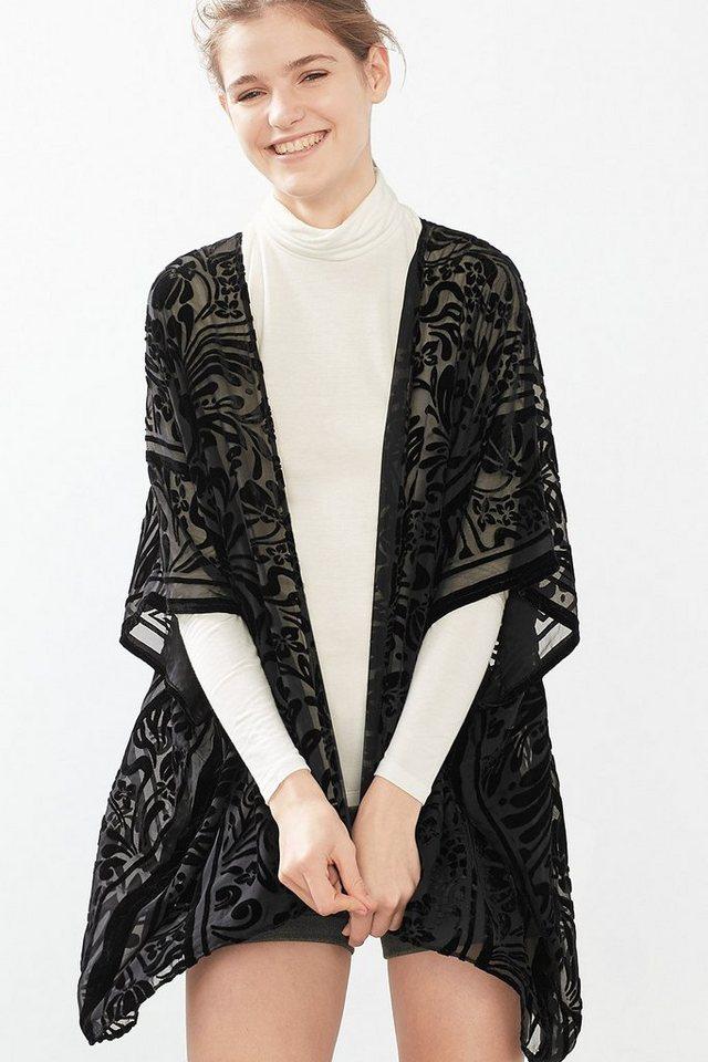 ESPRIT CASUAL Chiffon Kimono mit Samtornament in BLACK
