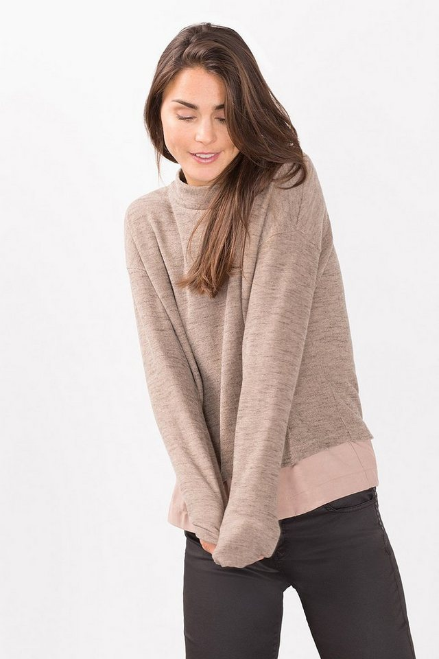 ESPRIT COLLECTION 2in1 Melange Sweatshirt mit Layer-Saum in SAND