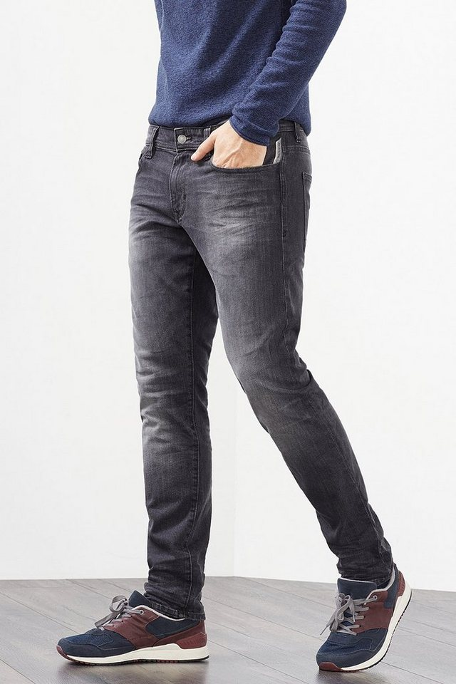 EDC 5-Pocket Jeans aus Stretch-Denim in GREY DARK WASHED