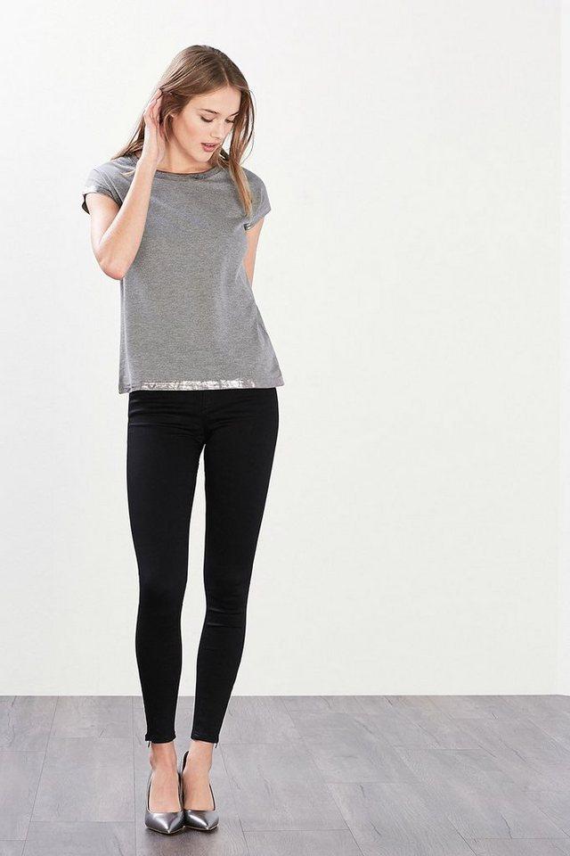 ESPRIT CASUAL Softes Shirt mit Glanzprint-Blenden in GUNMETAL