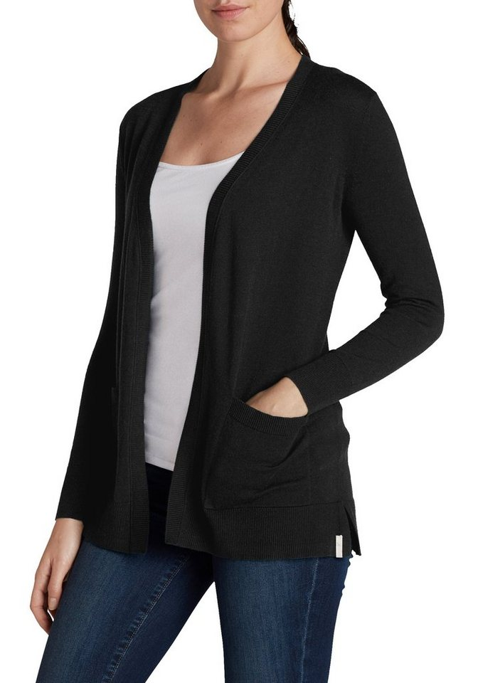 Eddie Bauer Long-Cardigan in Schwarz
