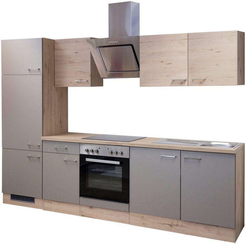 Küchenzeile mit E-Geräten »Riva, Breite 270 cm« in trüffelfarben