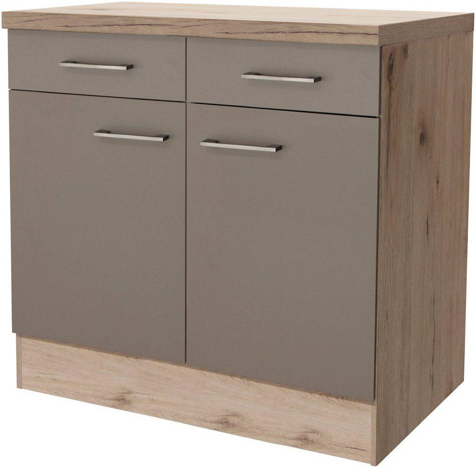 Küchenunterschrank »Riva, Breite 80 cm« in trüffelfarben