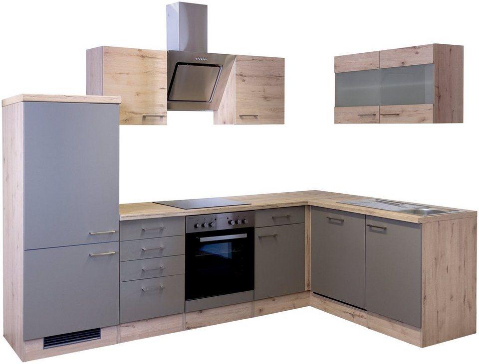 Küchenzeile mit E-Geräten »Riva«, 280 x 170 cm« in trüffelfarben