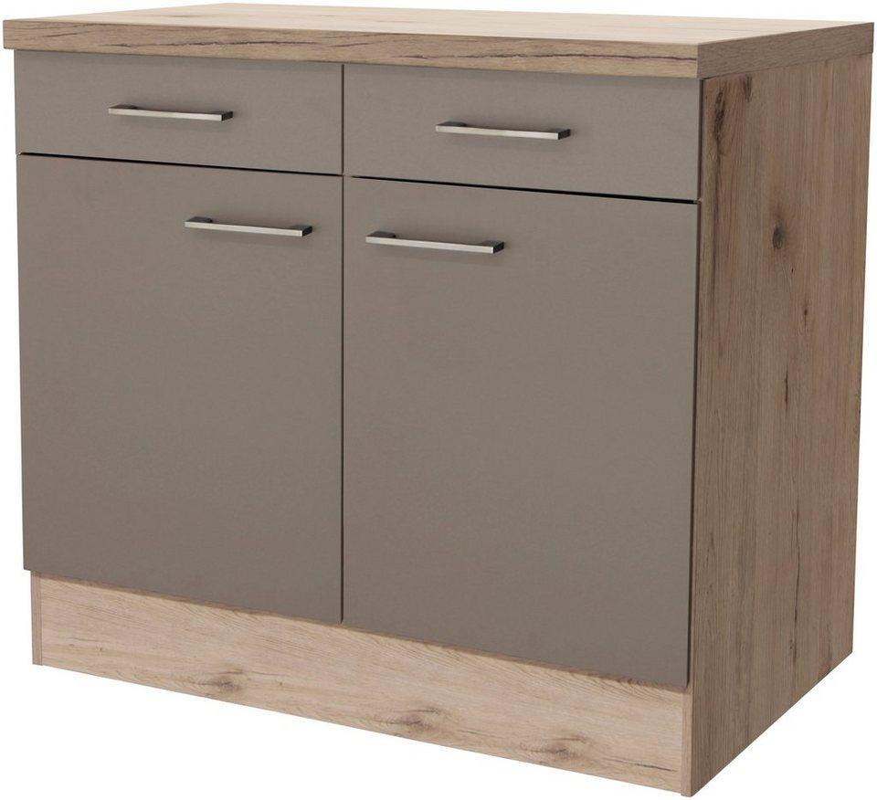 Küchenunterschrank »Riva, Breite 100 cm« in trüffelfarben