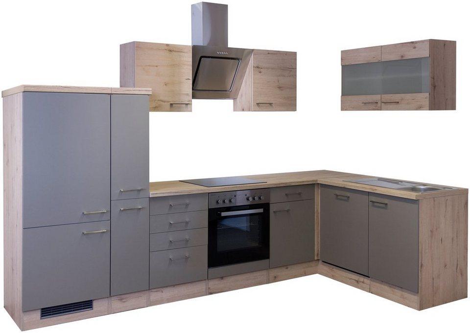 Küchenzeile mit E-Geräten »Riva«, 310 x 170 cm« in trüffelfarben