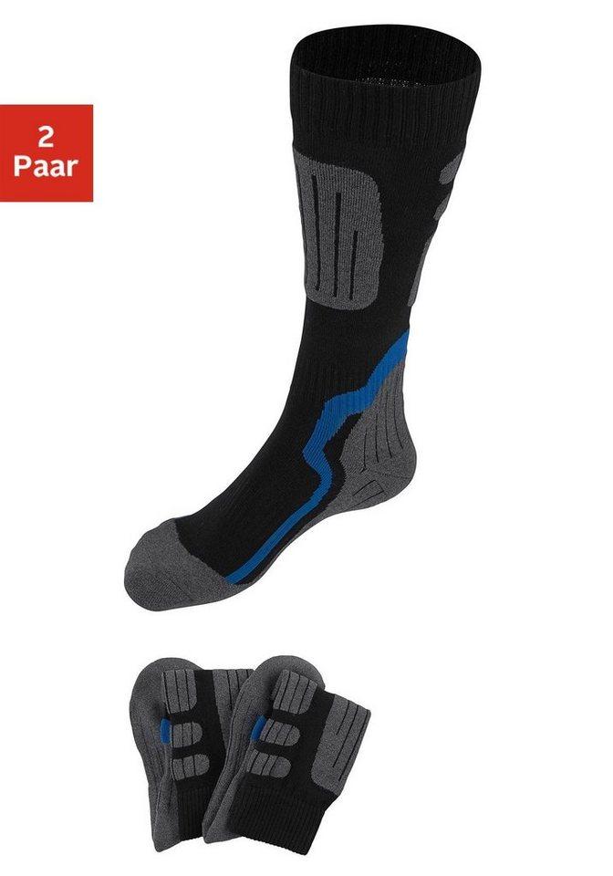 GO IN Gepolsterte Kniestrümpfe (2 Paar) ideal für Wintersportaktivitäten in 2x schwarz/grau