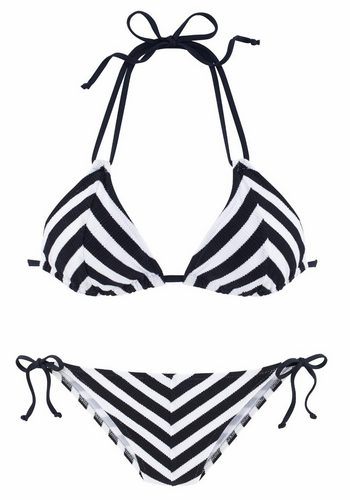 Damen Jette Triangel-Bikini in schöner Strukturware schwarz | 08436037094804