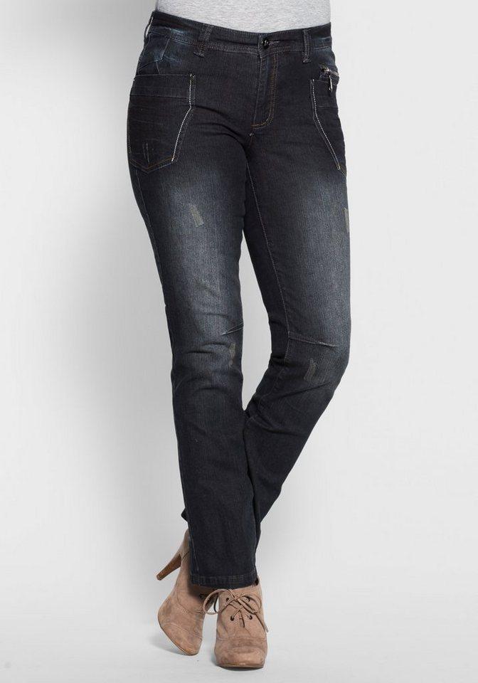 Joe Browns Gerade Stretch-Jeans mit Destroyed-Effekten in dark blue denim