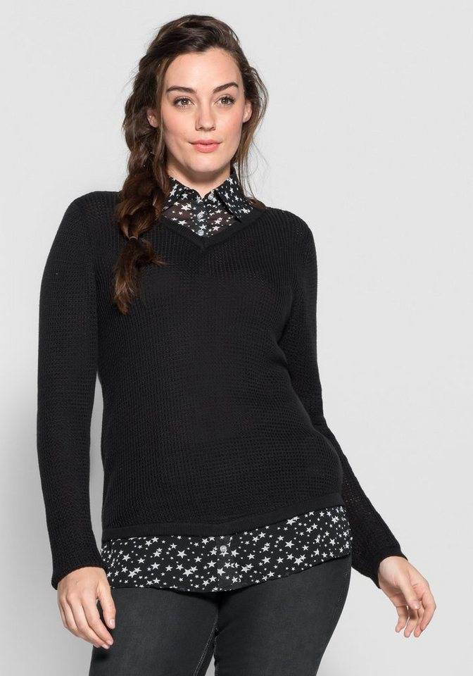 sheego Casual 2-in-1-Pullover in schwarz
