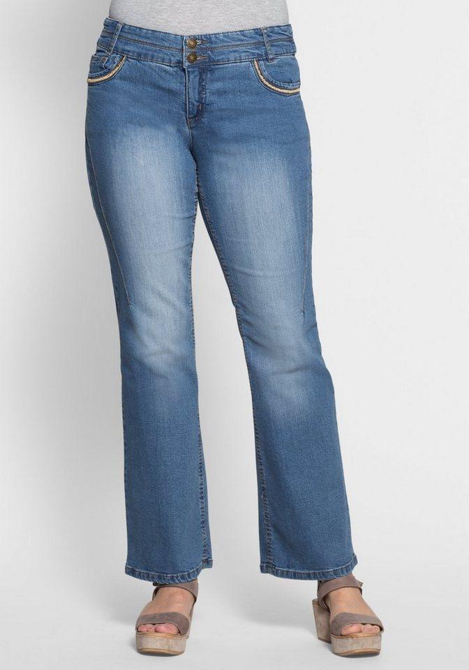 sheego denim bootcut stretch jeans mit used effekten online kaufen otto. Black Bedroom Furniture Sets. Home Design Ideas