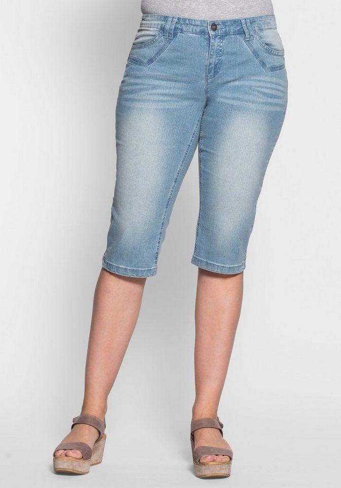 sheego Denim Schmale Stretch-Jeans-Capri in light blue denim
