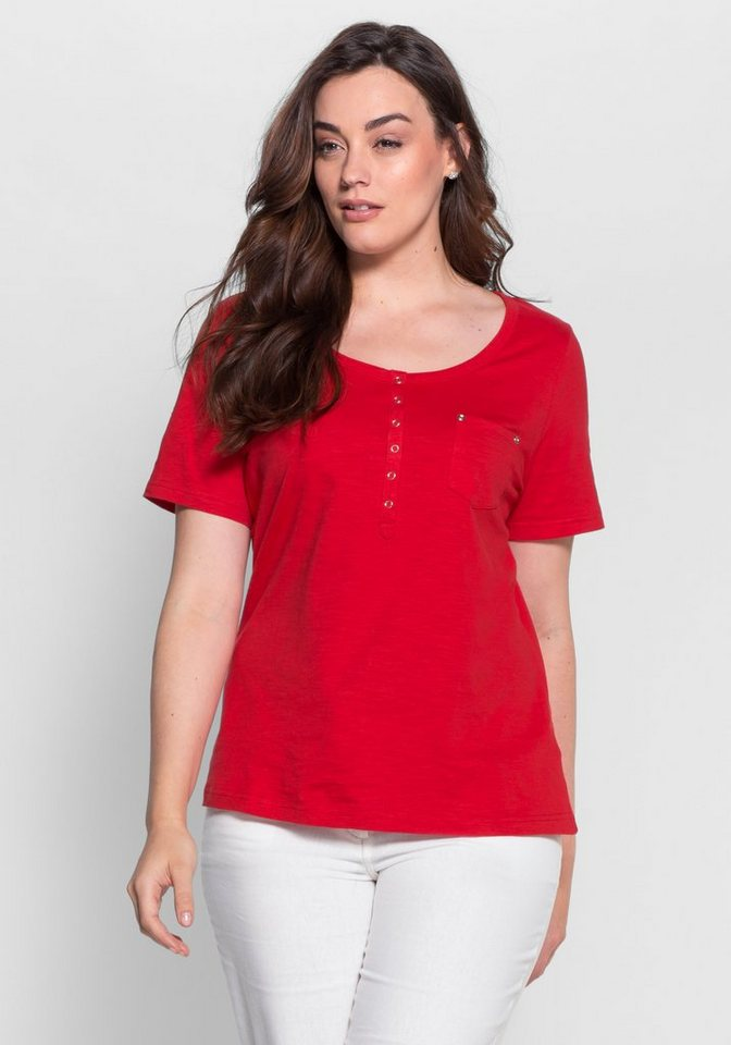 sheego Casual T-Shirt mit Knopfleiste in rot