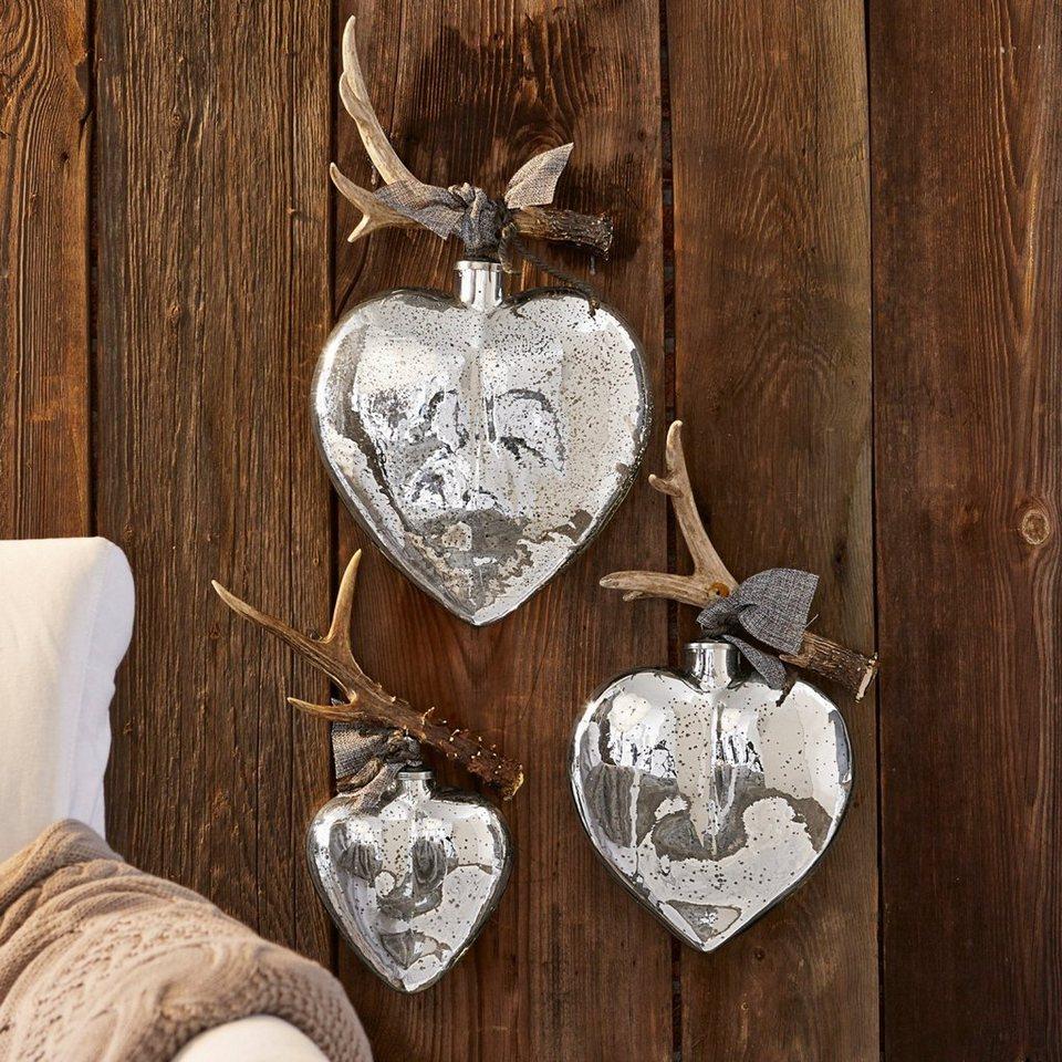 Loberon Weihnachtsschmuck 3er Set »de bon coeur« in antiksilber