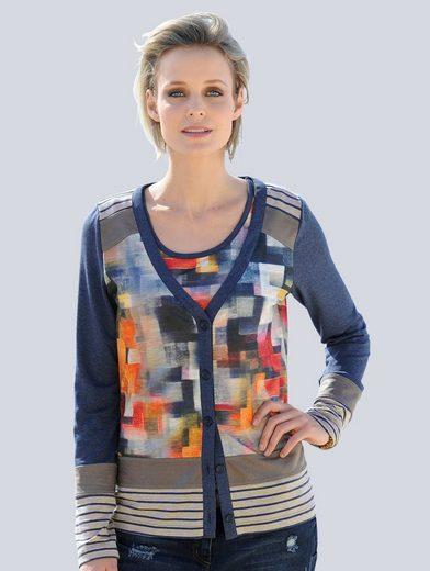 Alba Moda Jersey-Twinset in modischer Patchoptik