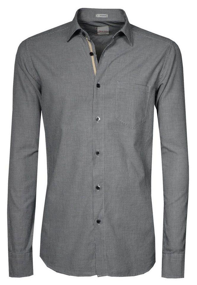 Signum Weiches Langarmhemd mit Hahnentritt-Muster in black
