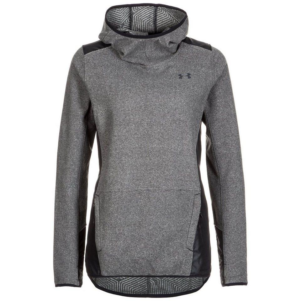 Under Armour® ColdGear Survivor Fleece Laufkapuzenpullover Damen in grau / schwarz