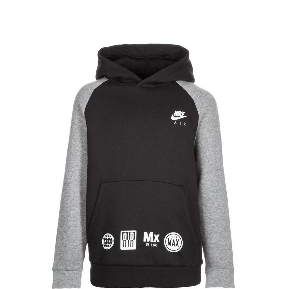 NIKE Air Trainingskapuzenpullover Kinder in schwarz / grau