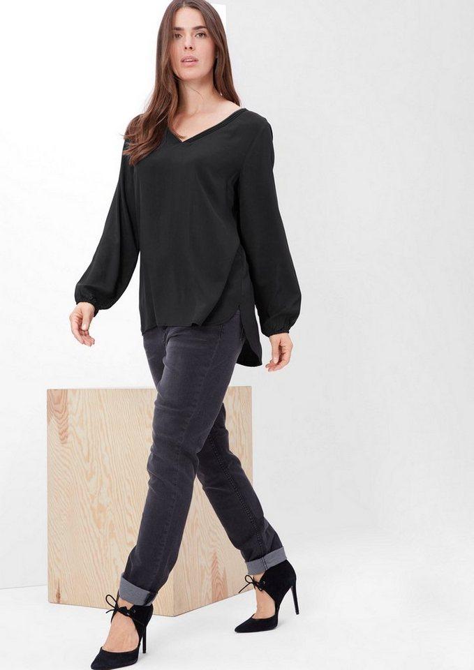 TRIANGLE Bluse mit Schmuckkragen in black