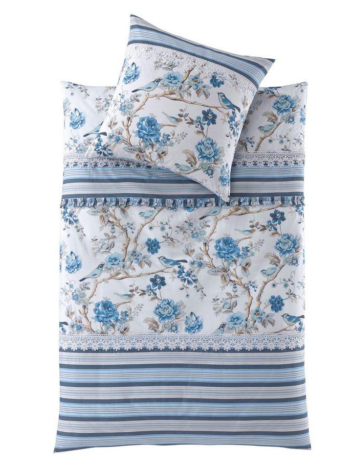 heine home Designer-Bettwäsche Patchwork Renforcé in blau/weiß